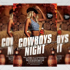 Download Cowboys Night PSD Flyer Template Now