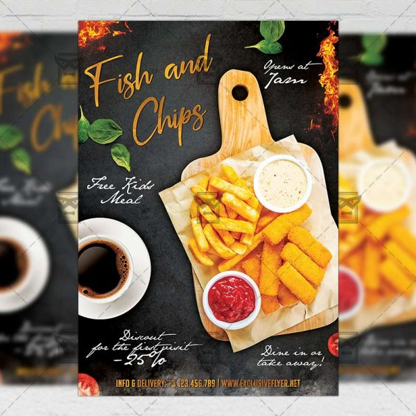 Download Fish and Chips PSD Flyer Template Now
