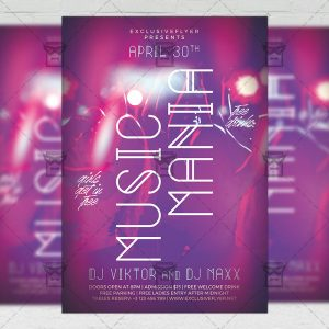 Download Music Mania PSD Flyer Template Now