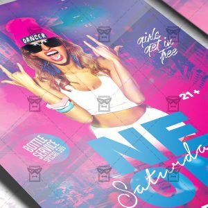 Download Neon Saturdays PSD Flyer Template Now