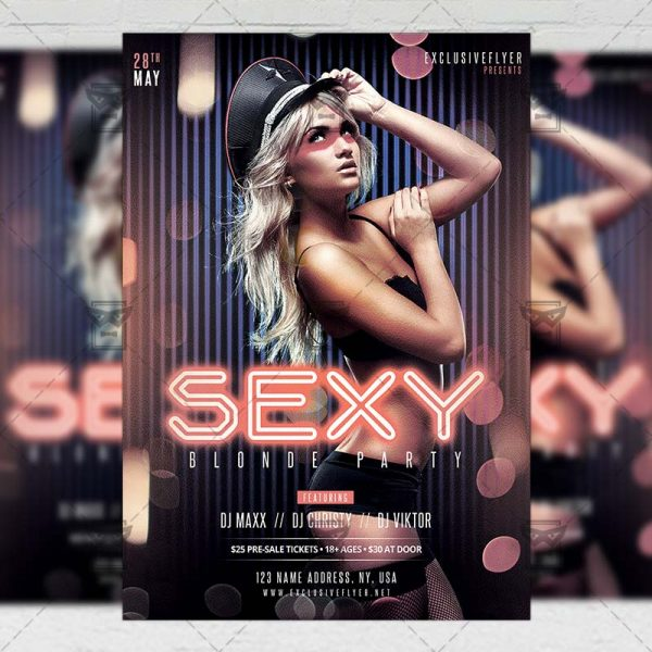 Download Sexy Blondes Party PSD Flyer Template Now