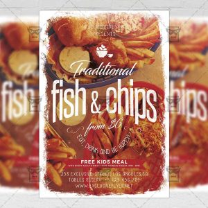 Download Traditional Fish and Chips PSD Flyer Template Now