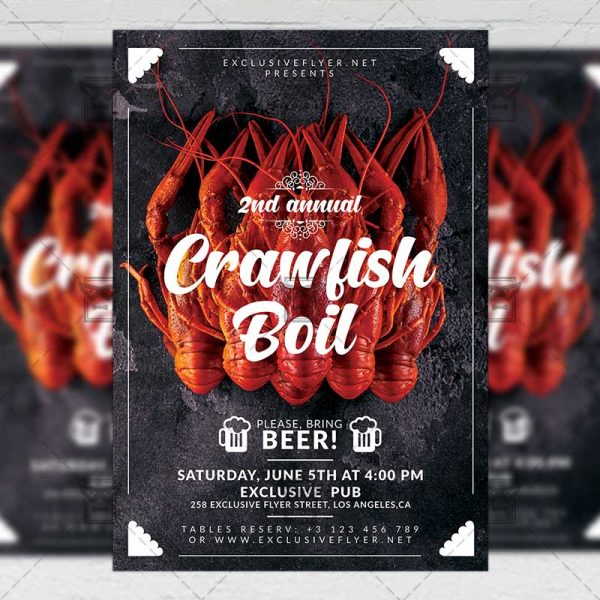 Download Annual Crawfish Boil PSD Flyer Template Now