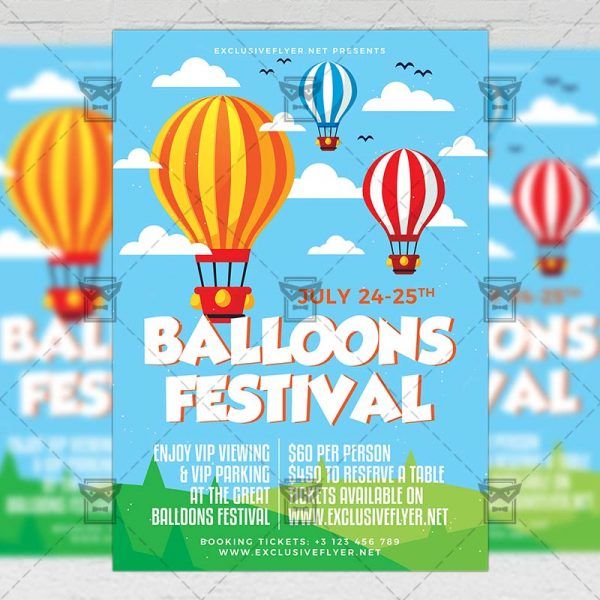 Download Balloons Festival PSD Flyer Template Now