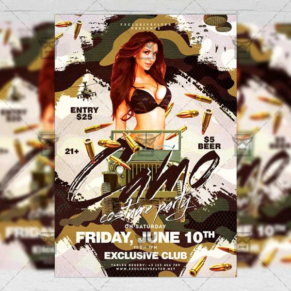 Download Camo Costume Party PSD Flyer Template Now