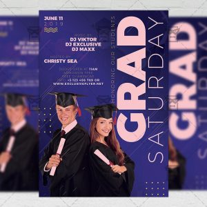 Download Grad Saturday PSD Flyer Template Now