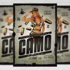 Download Memorial Day Camo Party PSD Flyer Template Now