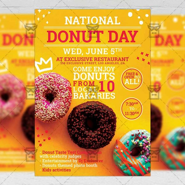 Download National Donut Day PSD Flyer Template Now