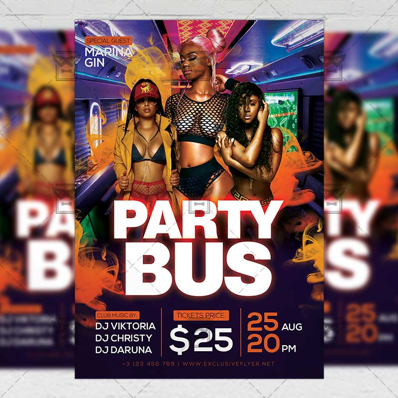 Party Bus Event - Club A5 Template ExclsiveFlyer Free And
