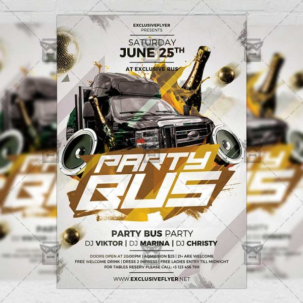 Download Party Bus Night PSD Flyer Template Now