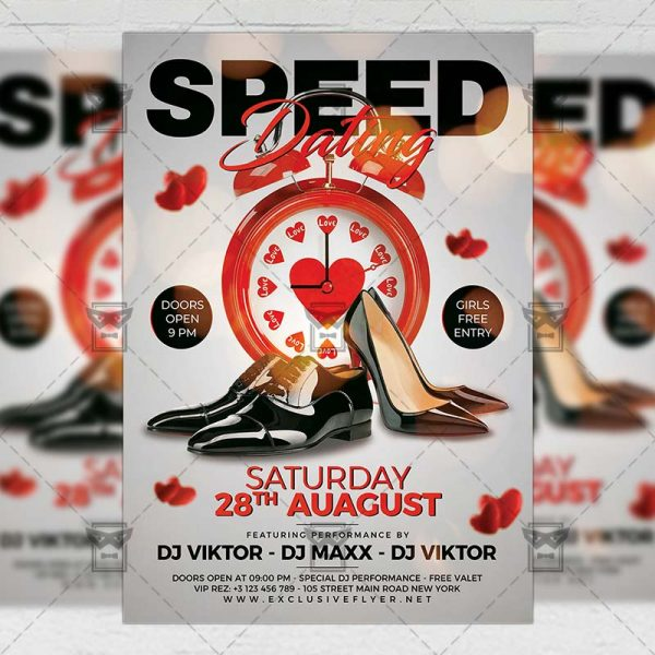 Download Speed Dating Party PSD Flyer Template Now