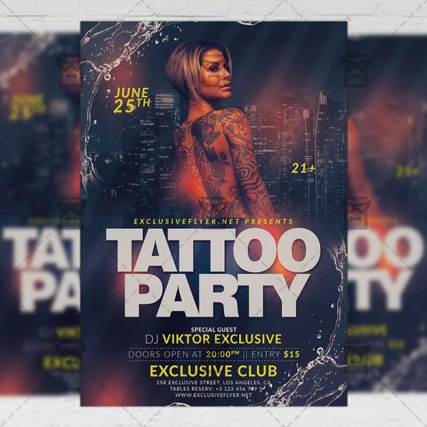 Download Tattoo Party PSD Flyer Template Now