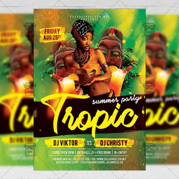Download Tropic Summer Party PSD Flyer Template Now
