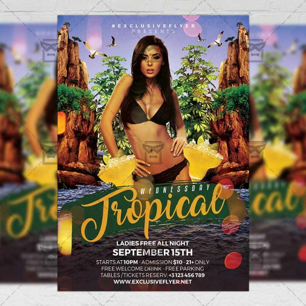 Download Tropical Wednesday PSD Flyer Template Now