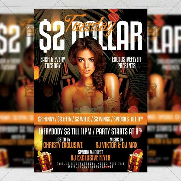 Download Two Dollar TuesdayPSD Flyer Template Now