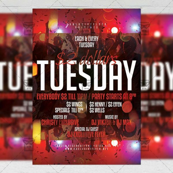 Download Two Dollars TuesdayPSD Flyer Template Now