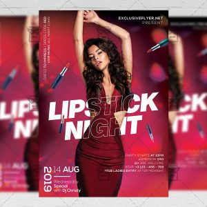 Download Lipstick Night Party PSD Flyer Template Now