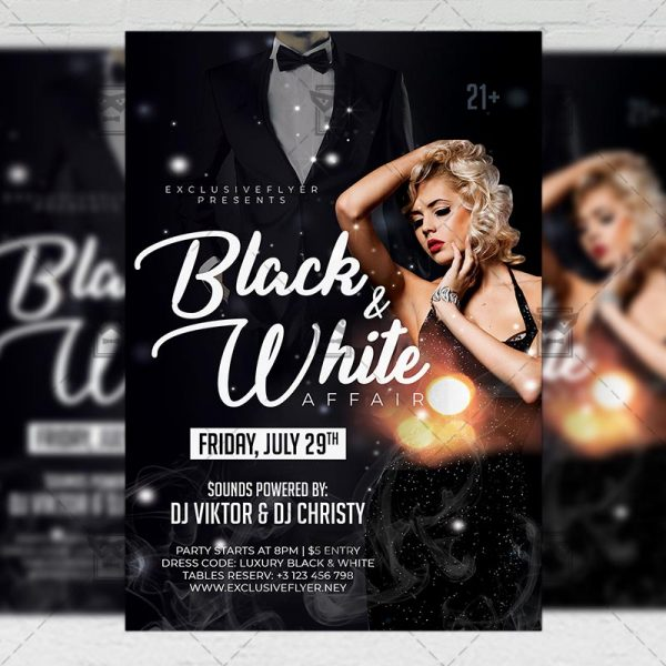Download Black and White Affair PSD Flyer Template Now