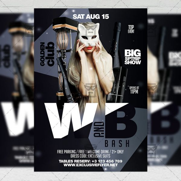 Download Black and White Bash PSD Flyer Template Now