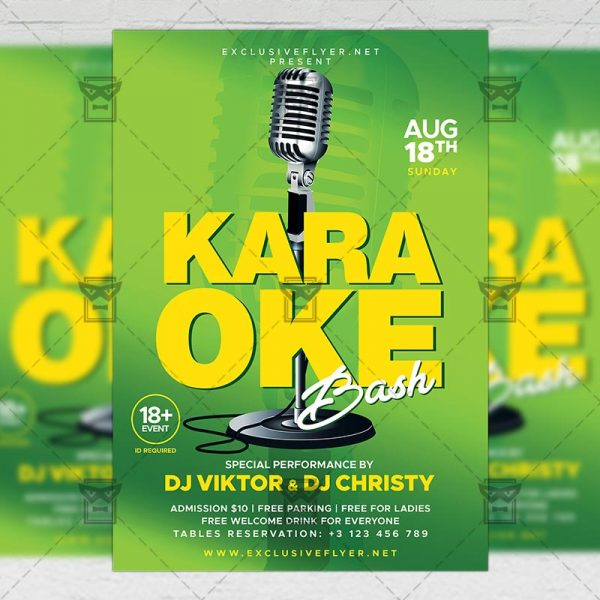 Download Karaoke Bash PSD Flyer Template Now