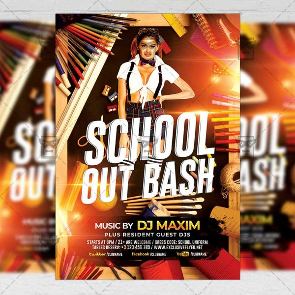 Download School Out Bash PSD Flyer Template Now