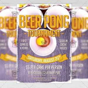Download Beer Pong Tournament PSD Flyer Template Now