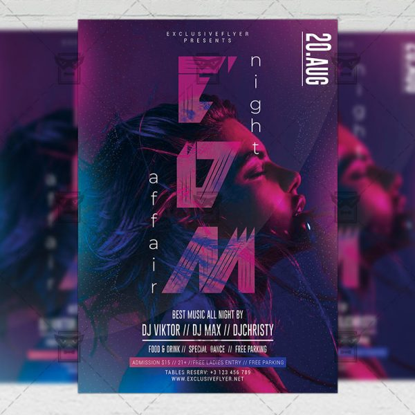 Download EDM Night Affair PSD Flyer Template Now