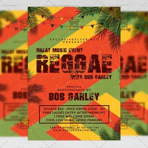Download Reggae Music Event PSD Flyer Template Now