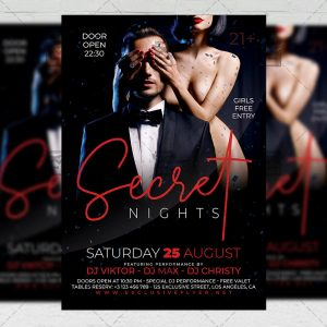 Download Secret Nights PSD Flyer Template Now
