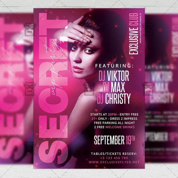 Download Secret VIP Party PSD Flyer Template Now