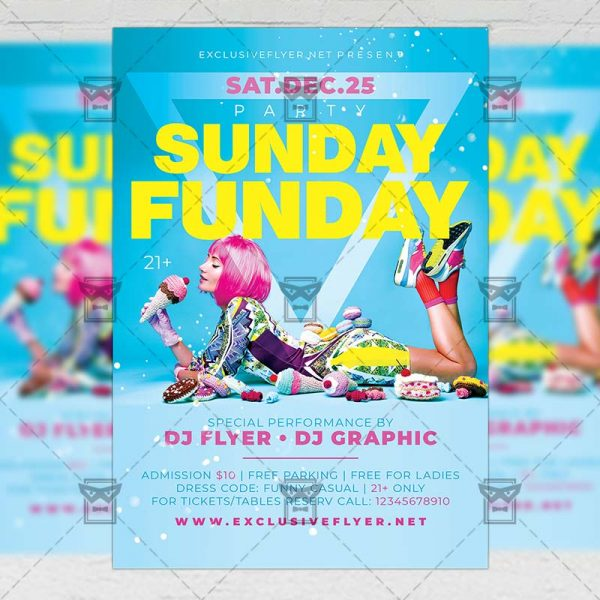 Download Sunday Funday Party PSD Flyer Template Now