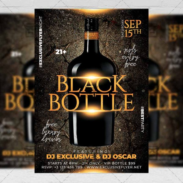 Download Black Bottle Party PSD Flyer Template Now