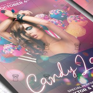 Download CandyLand Night PSD Flyer Template Now