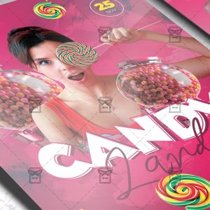 Download CandyLand Party PSD Flyer Template Now