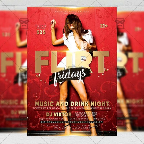 Download Flirt Fridays PSD Flyer Template Now