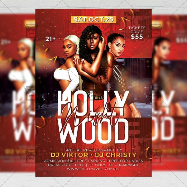Download Hollywood Nights PSD Flyer Template Now