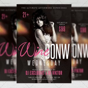 Download Wine Down Wednesday PSD Flyer Template Now