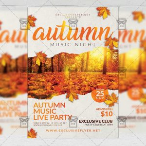 Autumn Music Night Flyer - Seasonal A5 Template