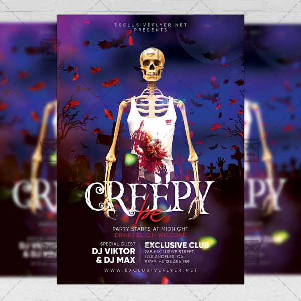 Download Be Creepy PSD Flyer Template Now