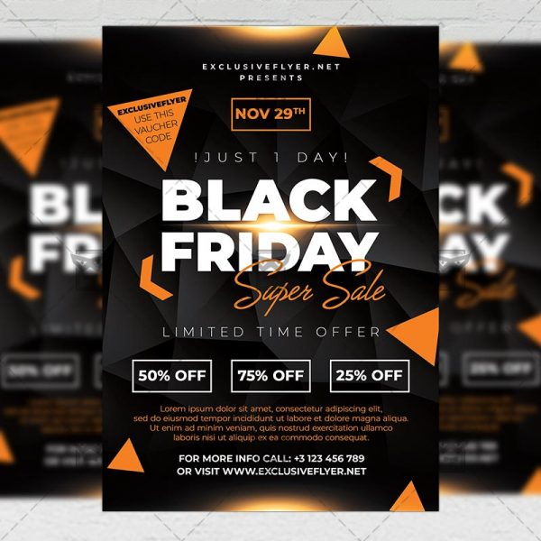 Download Super Black Friday Sale Flyer - Business A5 PSD Template