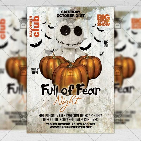 Download Full of Fear Night PSD Flyer Template Now