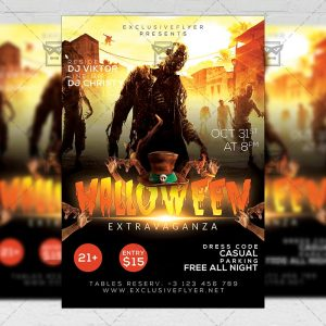 Halloween Extravaganza Flyer - Seasonal A5 Template
