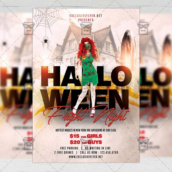 Download Halloween Fright Night PSD Flyer Template Now