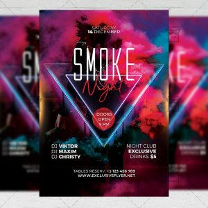 Smoke Night Flyer - Club PSD Template