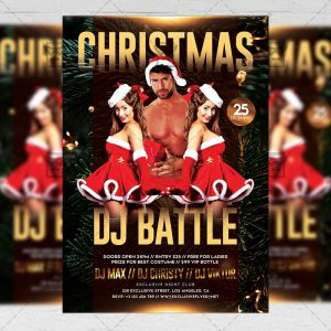 Christmas Dj Battle Flyer - Winter PSD Template