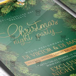 Christmas Night Party Flyer - Winter PSD Template