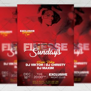 Finesse Sundays Flyer - Club PSD Template