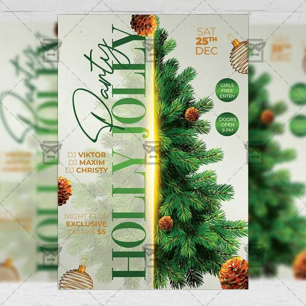 Holly Jolly Christmas Party Flyer - Winter PSD Template