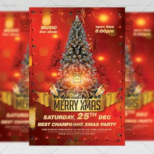 Merry Xmas Party Flyer - Winter PSD Template