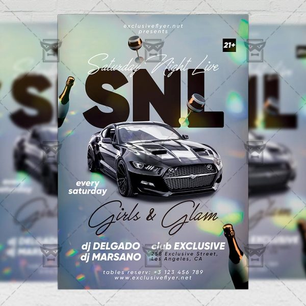 Saturday Night Live Flyer - Club PSD Template